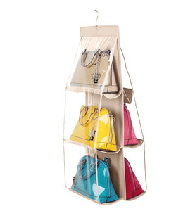 Buy vercord 6 pocket hanging purse handbag tote storage holder organizer dust proof closet wardrobe hatstand space saver beige