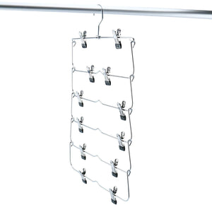 Latest homend 6 tier skirt hangers foldable pants hangers closet organizer stainless steel fold up space saving hangers 5 pack 1
