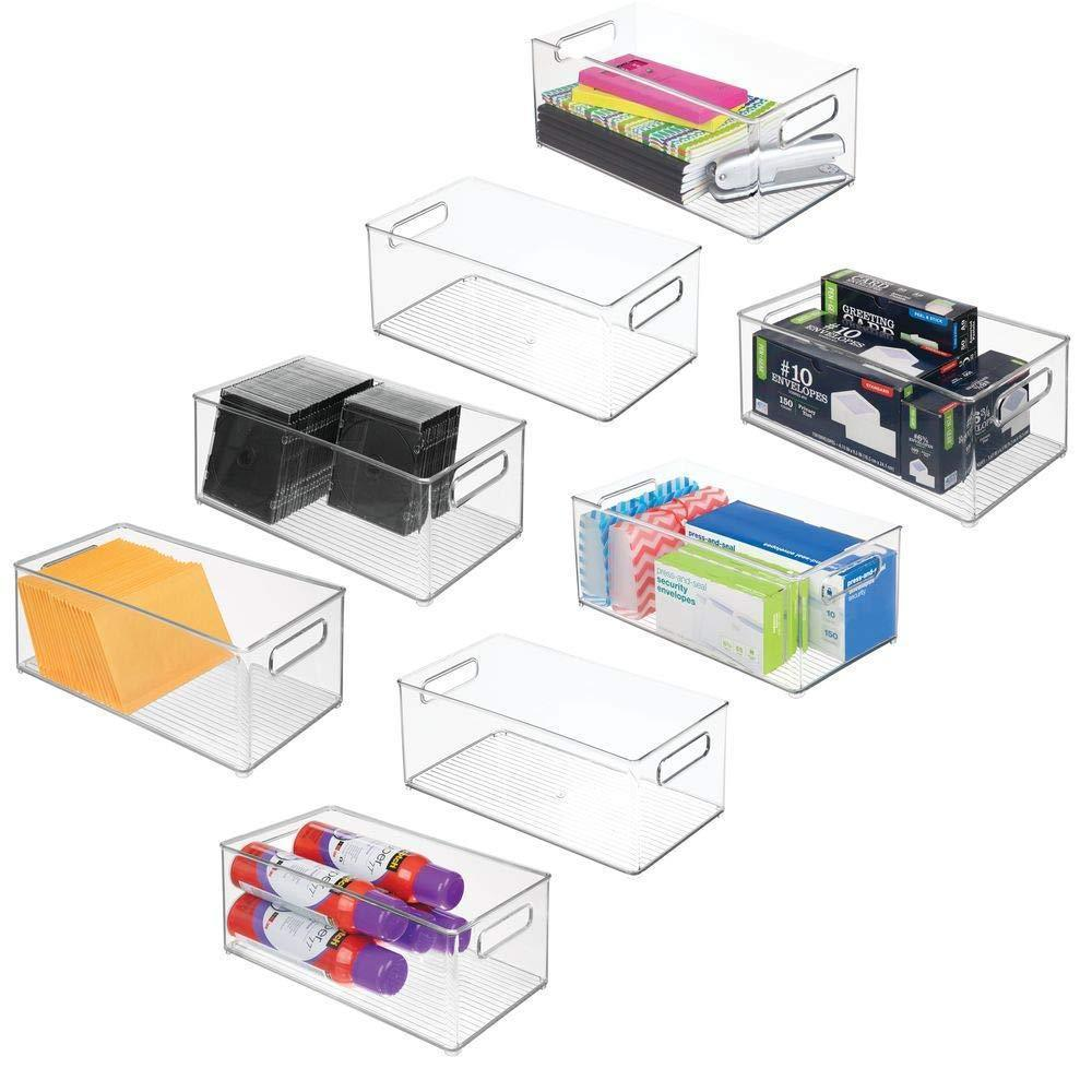 mDesign Plastic Storage Bin Container, Home Office Desk and Drawer Organizer Tote with Handles - Holds Gel Pens, Erasers, Tape, Pens, Pencils, Markers, Envelopes - 14.5