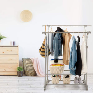 Related ezoware heavy duty clothes rack dual bar commercial grade garment coat clothes closet organizer hanging rack with 2 tier bottom shelves for balcony boutiques bedroom chrome finish