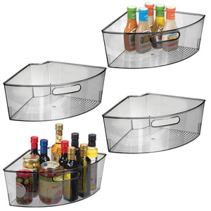 "mDesign Kitchen Cabinet Plastic Lazy Susan Storage Organizer Bins with Front Handle - Large Pie-Shaped 1/4 Wedge, 6"" Deep Container - Food Safe, BPA Free, 4 Pack - Smoke Gray"