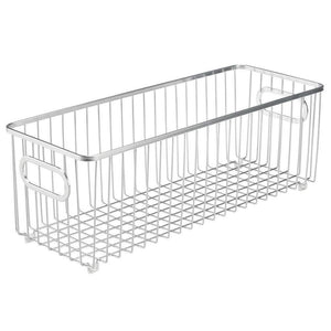 Heavy duty mdesign deep metal bathroom storage organizer basket bin farmhouse wire grid design for cabinets shelves closets vanity countertops bedrooms under sinks 4 pack chrome