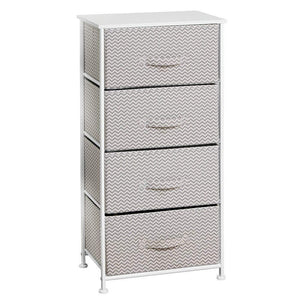 Purchase mdesign vertical furniture storage tower sturdy steel frame wood top easy pull fabric bins organizer unit for bedroom hallway entryway closets chevron zig zag print 4 drawers taupe
