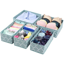 Load image into Gallery viewer, Best seller  homyfort set of 6 foldable dresser drawer dividers cloth storage boxes closet organizers for underwear bras socks ties scarves blue lantern printing