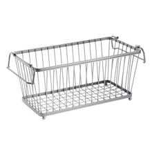 Load image into Gallery viewer, Organize with mdesign household stackable metal wire storage organizer bin basket with built in handles for kitchen cabinets pantry closets bedrooms bathrooms 12 5 wide 6 pack silver