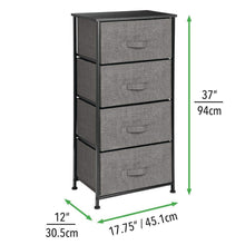 Load image into Gallery viewer, Buy now mdesign vertical dresser storage tower sturdy steel frame wood top easy pull fabric bins organizer unit for bedroom hallway entryway closets textured print 4 drawers charcoal gray black
