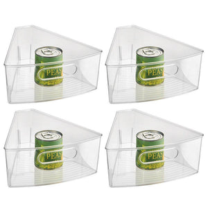 "InterDesign Plastic  Lazy Susan Cabinet Storage Bin, 1/8 Wedge Container for Kitchen, Pantry, Counter, BPA-Free, 10.25"" x 9.5"" x 4"", Set of 4, Clear"