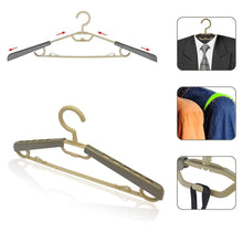 Load image into Gallery viewer, Results bondream 6 pack heavy duty plastic extra wide arm 15 23suits clothes hangers with swivel hooks perfect for coat jacket dress shirt trousers or closet space saving grey tan