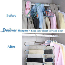 Load image into Gallery viewer, Organize with doiown s type stainless steel clothes pants hangers closet storage organizer for pants jeans scarf hanging 14 17 x 14 96ins set of 3 5 pieces light blueupgrade style