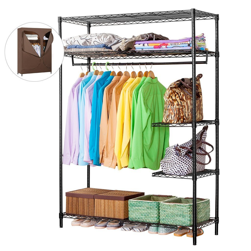 Purchase langria heavy duty wire shelving garment rack clothes rack portable clothes closet wardrobe compact zip closet extra large wardrobe storage rack organizer hanging rod capacity 420 lbs dark brown