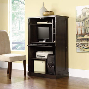 Top rated brown storage desk armoire computer workstation cabinet home organizer office shelves closet bedroom study executive furniture