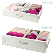 Load image into Gallery viewer, Order now foldable closet drawer organizer set of 3 storage containers moisture and dust proof storage baskets beautiful textured fabric sturdy build perfect for home and office galliana