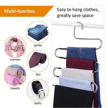 Load image into Gallery viewer, Exclusive ieoke pant hangers durable slack hangers multi layers stainless steel space saving clothes hangers closet storage for jeans trousers 4 pack