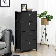 Load image into Gallery viewer, Organize with songmics 4 tier dresser drawer unit cabinet with 4 easy pull fabric drawers storage organizer with metal frame and wooden tabletop for living room closet hallway black ults04h