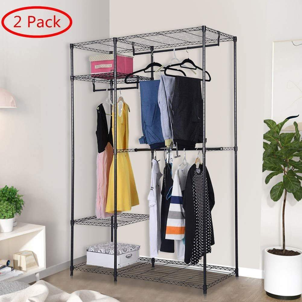 Home s afstar safstar heavy duty clothing garment rack wire shelving closet clothes stand rack double rod wardrobe metal storage rack freestanding cloth armoire organizer 2 packs