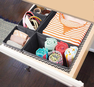Exclusive ilauke drawer underwear organizers storage box foldable closet dresser drawers divider organizer fabric cloth basket bins for sock bras baby clothes set of 8 grey