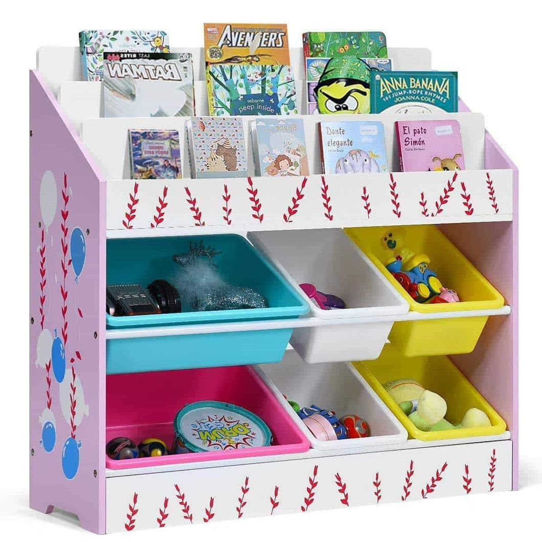 Costzon Kids Toy Storage Organizer & Bookshelf, Children Bookshelf with 6 Multiple Color Removable Bins Shelf Drawer & 3 Shelf Sleeves, Ideal for Kids Room, Playroom and Class Room (Pink)
