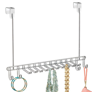 Related mdesign metal over door hanging closet storage organizer rack for mens and womens ties belts slim scarves accessories jewelry 4 hooks and 10 vertical arms on each 2 pack chrome
