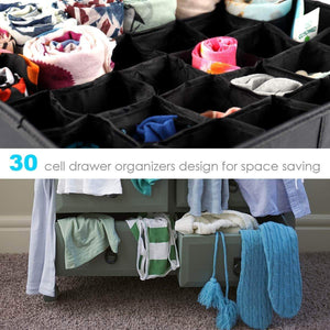 Home mifxin underwear socks storage organizer drawer divider 30 cell foldable closet drawer organizer storage box bin for socks bras underwear ties with dust moisture proof cover black