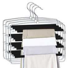 Load image into Gallery viewer, On amazon homeideas pack of 4 non slip pants hangers stainless steel slack hangers space saving clothes hangers closet organizer with foam padded swing arm multi layers rotatable hook