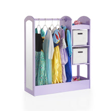 Load image into Gallery viewer, Top rated guidecraft see and store dress up center lavender pretend play storage closet with mirror shelves armoire for kids with bottom tray costume storage dresser
