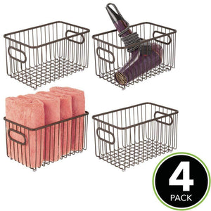 Get mdesign metal bathroom storage organizer basket bin modern wire grid design for organization in cabinets shelves closets vanity countertops bedrooms under sinks 4 pack bronze