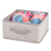 Load image into Gallery viewer, Best seller  mdesign soft fabric modular closet organizer box with handle for cube storage units in closet bedroom to hold clothing t shirts leggings accessories textured print 8 pack linen tan
