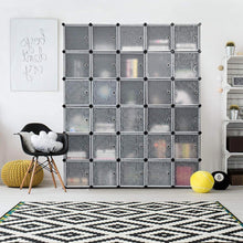 Load image into Gallery viewer, Buy tangkula cube storage organizer cube closet storage shelves diy plastic pp closet cabinet modular bookcase large storage shelving with doors for bedroom living room office 30 cube