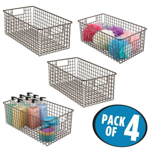 Top rated mdesign farmhouse decor metal wire bathroom organizer storage bin basket for cabinets shelves countertops bedroom kitchen laundry room closet garage 16 x 9 x 6 in 4 pack bronze