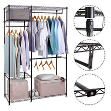 Load image into Gallery viewer, Great lifewit portable wardrobe clothes closet storage organizer with hanging rod adjustable legs quick and easy to assemble large capacity dark brown