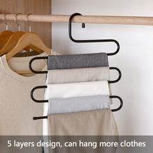 Load image into Gallery viewer, Buy ds pants hanger multi layer s style jeans trouser hanger closet organize storage stainless steel rack space saver for tie scarf shock jeans towel clothes 4 pack 1
