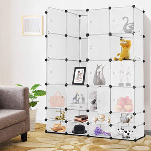 Selection tangkula portable clothes closet wardrobe bedroom armoire diy storage organizer closet with doors 16 cubes and 8 shoe racks