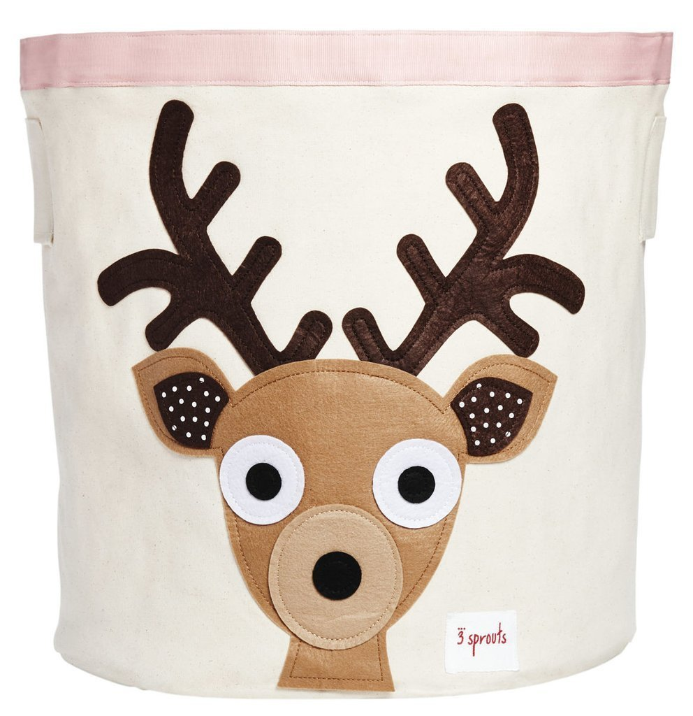 3 Sprouts Canvas Storage Bin - Laundry and Toy Basket for Baby and Kids Deer