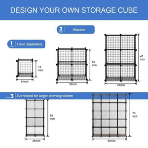 Storage organizer kousi wire storage cubes modular metal cubbies organizer customizable metal rack cloths closet cubes storage shelves multifuncation shelving unit 8 cubes 4 hanging sections