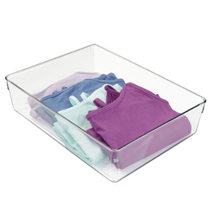 "InterDesign Linus Plastic Dresser and Vanity Organizer, Storage Bin for Bathroom, Bedroom, Office, Craft Room, Fridge, Freezer, Pantry, 12"" x 9"" x 3"" , Clear"