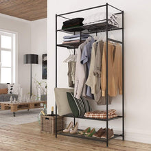 Load image into Gallery viewer, Latest langria heavy duty zip up closet shoe organizer with detachable brown cloth cover wardrobe metal storage clothes rack armoire with 4 shelves and 2 hanging rods max load 463 lbs