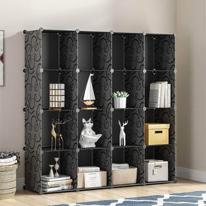 New kousi portable storage shelf cube shelving bookcase bookshelf cubby organizing closet toy organizer cabinet black no door 16 cubes