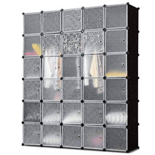 Load image into Gallery viewer, Budget tangkula cube storage organizer cube closet storage shelves diy plastic pp closet cabinet modular bookcase large storage shelving with doors for bedroom living room office 30 cube