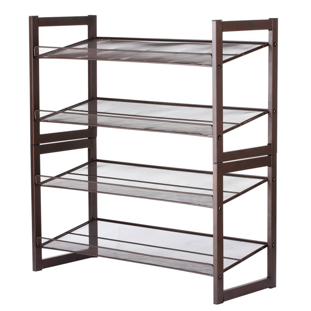 Cheap rackaphile 4 tier stackable metal shoe rack mesh utility shoe storage organizer shelf for closet bedroom entryway 32 3 28 9 12 bronze