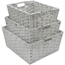 Load image into Gallery viewer, Shop for sorbus woven basket bin set storage for home decor nursery desk countertop closet cube organizer shelf stackable baskets includes built in carry handles set of 3 light gray