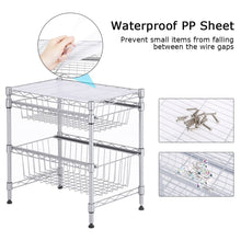 Load image into Gallery viewer, Discover the best rackaphile stackable 2 tier sliding basket organizer drawer under sink cabinet with adjustable leveling feet rack shelf for bathroom kitchen closet office desktop silver