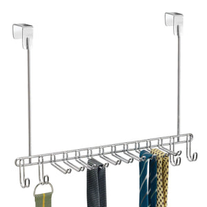 Top rated mdesign metal over door hanging closet storage organizer rack for mens and womens ties belts slim scarves accessories jewelry 4 hooks and 10 vertical arms on each 2 pack chrome 1