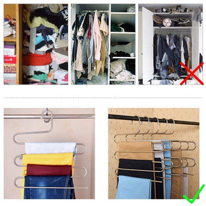 The best 4 pack s type hanger for clothing closet storage stainless steel pants hangers with 5 layers multi purpose loveyal limited space storage rack for trousers towels scarfs ties jeans 4
