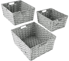 Load image into Gallery viewer, Shop here sorbus woven basket bin set storage for home decor nursery desk countertop closet cube organizer shelf stackable baskets includes built in carry handles set of 3 light gray