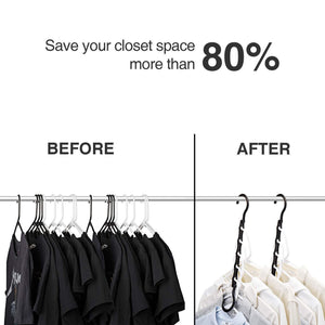Amazon best house day black magic hangers space saving clothes hangers organizer smart closet space saver pack of 10 with sturdy plastic for heavy clothes