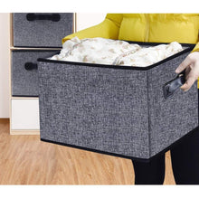 Load image into Gallery viewer, Explore homyfort cloth collapsible storage bins cubes 15 7x11 8x9 8 linen fabric basket box cubes containers organizer for closet shelves with leather handles set of 3 grey