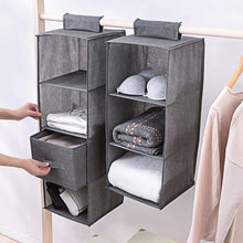 Load image into Gallery viewer, Save aoolife closet hanging shelves organizer linen cloth light and breathable collapsible hanging closet organizer for sock clothes bra toys and more drawer 4 pack