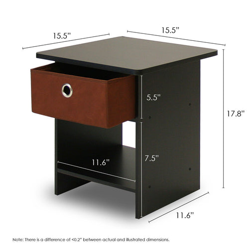 Furinno End Table/ Night Stand Storage Shelf 10004EX/BR