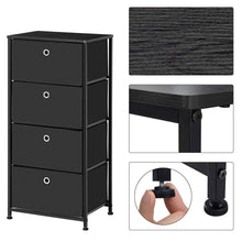 Load image into Gallery viewer, Online shopping songmics 4 tier dresser drawer unit cabinet with 4 easy pull fabric drawers storage organizer with metal frame and wooden tabletop for living room closet hallway black ults04h