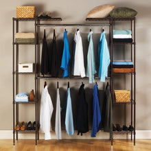 Load image into Gallery viewer, Amazon seville classics double rod expandable clothes rack closet organizer system 58 to 83 w x 14 d x 72 satin bronze